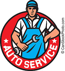 auto service label, car service symbol, auto mechanics -...