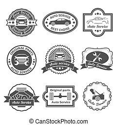 Auto service labels - Auto mechanic service black labels...