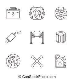 Auto service linear icons