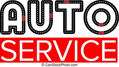 Auto service logo template - asphalt road with small vehicles