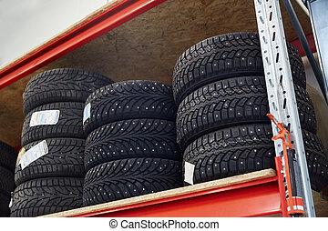 tires at car shop or warehouse