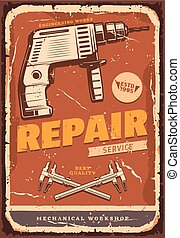 Auto service retro banner for car repair design