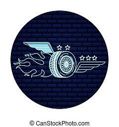 auto service wheel car wings flame fire emblem
