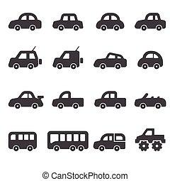 auto, set, pictogram