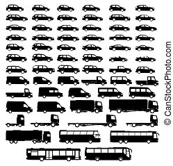 auto, set, silhouette