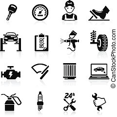 auto, set2., dienst, pictogram