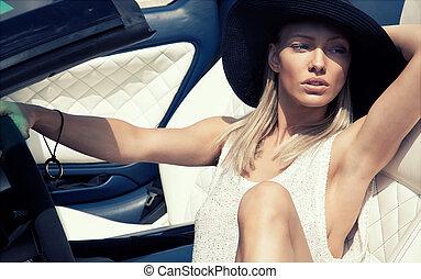 auto, sexy, sport, dame