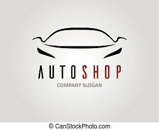 Auto shop car logo design with concept sports vehicle silhouette