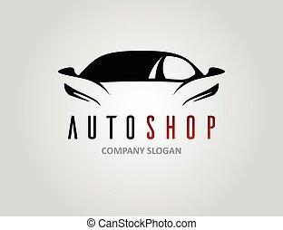 Auto shop car logo design with concept sports vehicle...