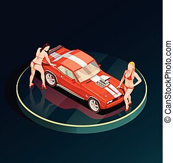 Auto Show Girls Composition - Auto show car showroom...