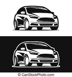 auto, silhouette, ikone