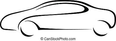 auto, silhouette, voor, emblem.