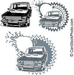 auto, silhouettes, set