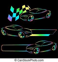 auto, simbolo, vettore