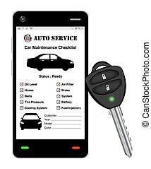 auto, smartphone, dienst, toepassing