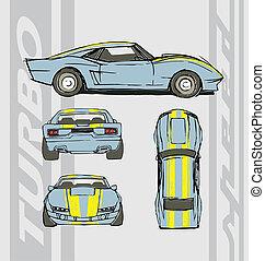 auto, snelheid, turbo
