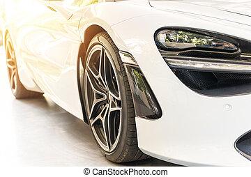auto, sonnenuntergang, luxus, front, weißes, sport