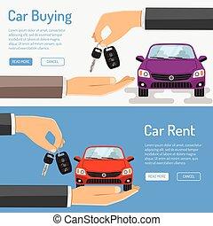 auto, spandoek, huren, aankoop, amd