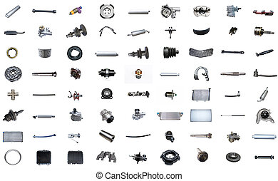 Auto spare parts car on the white background.