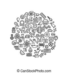 Auto spare parts line vector icons in circle composition....
