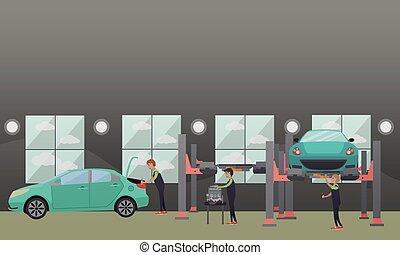 Auto spare parts repair concept vector illustration in flat ...