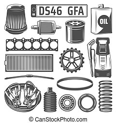 Auto spares and oil canister, number plate icons - Car spare...