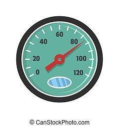 Auto speedometer icon, flat style