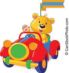auto, speelbal, beer, zittende