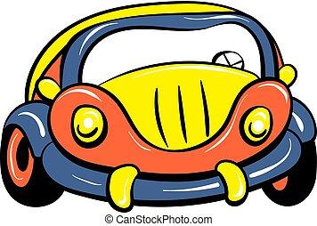 auto, speelbal, pictogram, spotprent, stijl
