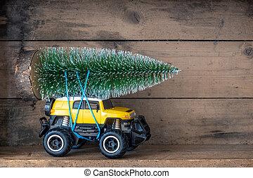 auto, spielzeug, baum, weihnachten, gelber