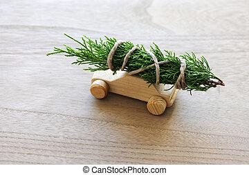 auto, spielzeug, baum, weihnachten