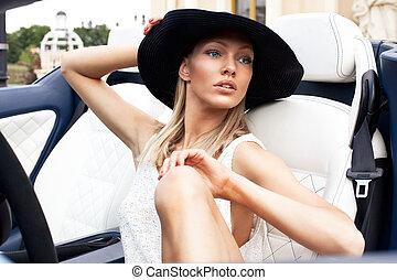 auto, sport, dame, sexy