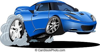 auto, sport, karikatur