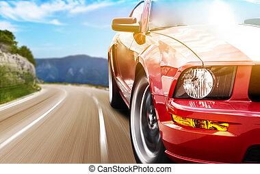 auto, sport, rotes