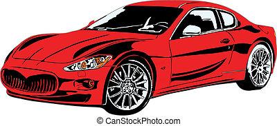 auto, sportende, eps, gemaakt