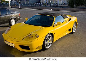 auto, sportende, gele