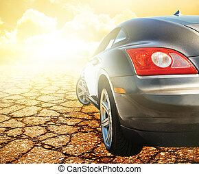 auto, sportende, woestijn, weerspiegelde
