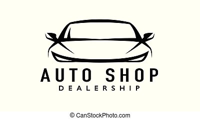 Auto sports car dealership logo with silhouette icon shape of a motor vehicle