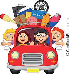 auto, spotprent, gezin, het reizen