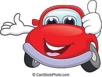 auto, spotprent, karakter, duim boven