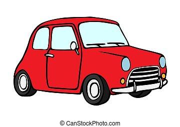 auto, spotprent, retro