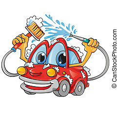 auto, spotprent, wassen