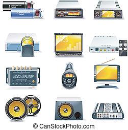 auto stereo-installatie, vector, systemen, iconen