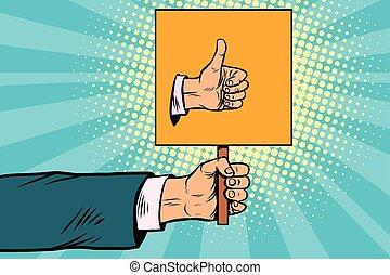 auto-stop, aimer, haut, main, ou, geste, pouce