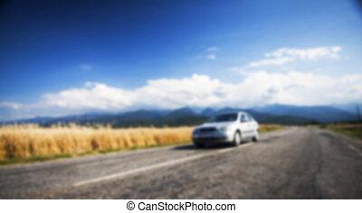 Auto, Straße, hintergrund, Verwischt