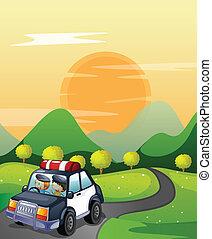 auto, straat