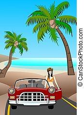 auto, strand, classieke