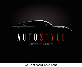 Auto style car logo design with concept sports vehicle icon silhouette on black background. Vector illustration.