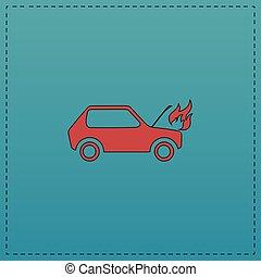 auto, symbol, edv, abgefeuert