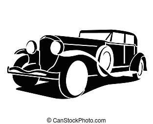 auto, symbol, klassisch